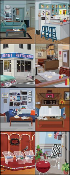 Seinfeld - Jerry's Apartment, Monk's Cafe, George's Apartment, Kramer's Apartment, Merv Griffin Set