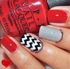Red and Chevron Nails