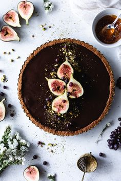 Chocolate and Cheesecake Fig Tart — plum