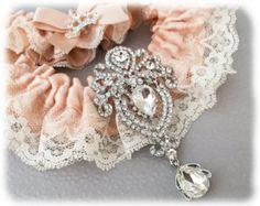 Rose Gold Wedding Garter Set Blush Wedding Garter Bridal