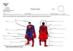 Evaluation sur les parties du corps avec Superman. Ce document peut s'utiliser comme exercice en supprimant l'en-tête. - Fiches FLE