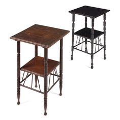 AFTER E.W. GODWIN  TWO AESTHETIC MOVEMENT OCCASIONAL TABLES, CIRCA 1890  each with square top above ring turned legs supporting a lower tier with spindle gallery, one ebonised (2)  40cm square, 67cm high  Estimate £ 200-300  Sold for £238 (buyer's premium included)