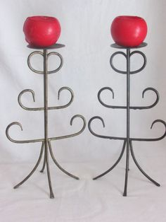 """Set of 2 Wrought Iron Christmas Tree Candle Holders 12"""" Gold Bronze Unique!! #Unbranded"""