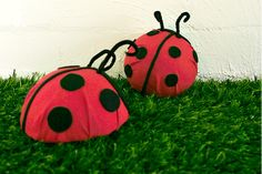 DIY Tutorial: Cute Ladybug Party Decor // Hostess with the Mostess® tissue paper and half a Styrofoam ball