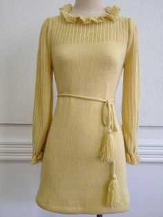 Vintage 1970s Fitted Gold Crochet Knit Mini by MadelonVintage, $75.00