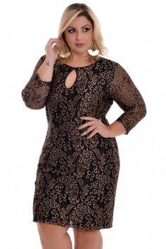 Vestido Plus Size Renda Gold