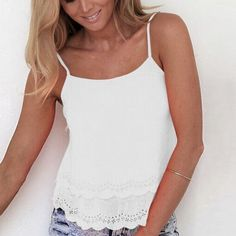 Women Fashion Casual Sexy Round Neck Sleeveless Strap Backless Irregular Cut Out Hollow Solid Tank Tops