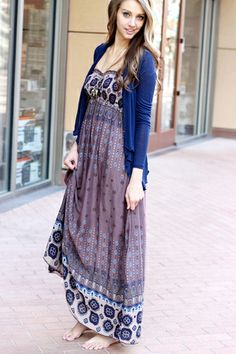 Empire Maxi Dress Brown and Blue