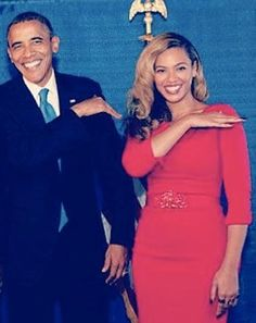 "President Obama with Beyoncé. Lord, he's ""brushing his shoulder off with Queen B?"" Jay Z, look out!!!!"