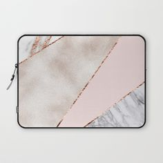 Spliced mixed rose gold marble Laptop Sleeve by marbleco | Society6