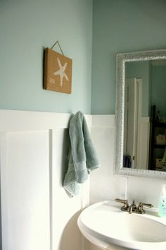 "This is exactly how I want my ""beachy bathroom"" White trim, light blue paint."