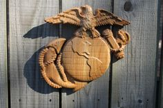 Marine Corps EGA 3D carved wood  SMALL 10x10 by TAWoodandVinyl.com