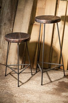 Solid steel rebar stools. Seat Material is solid oak; they are attached with steel flat bar and solid brass screws. These are handmade products and as such they will differ slightly from each other making them one of a kind. The steel has been coated in an automotive grade lacquer to prevent rust. They are 550mm or 750mm in height, the seats diameter is around 290-300mm. I can make them to different heights and seat diameters upon request.
