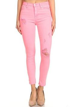 Neon is Now High-Rise Pink Jeans Pink Jeans, Girl Gang, Metal Buttons, Neon Colors, Destruction, Hot Pink, Celebrity, Closure, Spandex