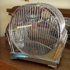 Vintage Art Deco W/ Chrome Bird Cage Antique Beauty