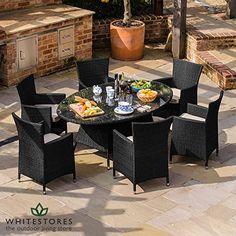 Maze Rattan Outdoor Garden Furniture Baby LA 6 Seat 1.8m x 1.2m Oval Table Rattan Dining Set