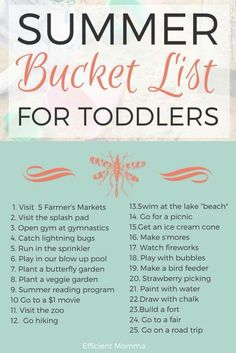 Want to take your little ones on an adventure this summer? Check out this bucket list to keep everyone smiling!