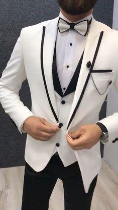 Page White Slim Tuxedo - Wedding 2020 Wedding Dresses Men Indian, Wedding Dress Men, Wedding Men, Wedding Tuxedos, Wedding Suits For Groom, Vintage Wedding Suits, Church Wedding, Mens Casual Suits, Mens Fashion Suits