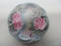 Aqua with pink roses hand painted porcelain by MostlyAwesomeStuff