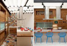 Cozinha com ladrilho hidráulico colorido
