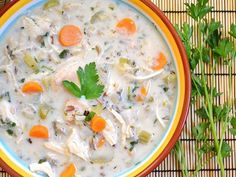 This creamy chicken & rice soup is chock full of fresh vegetables, hearty rice, and a light but creamy broth.