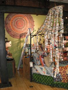 anthropology bedroom with a ticket curtain from Alexandra Whatton