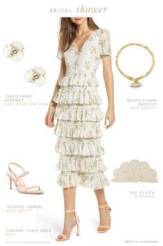 Tiered floral ivory dress for bridal shower