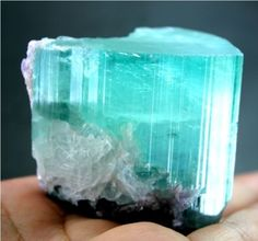 PARAIBA TOURMALINE - What a pretty color. Imagine finding this on a hike!