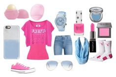 """""""pink and blue"""" by animaljam-rocks21 ❤ liked on Polyvore featuring 7 For All Mankind, Valentino, Converse, Casetify, Ray-Ban, Swiss Legend, Topshop, Eos, Smashbox and NIKE"""