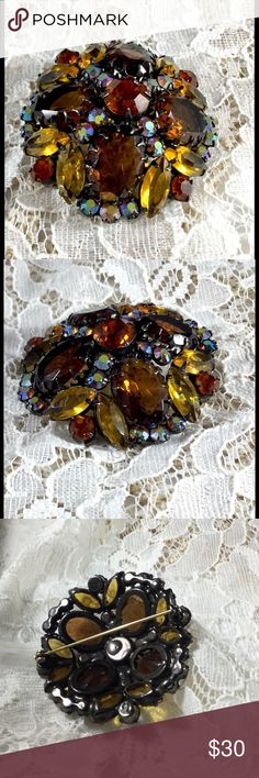 Vintage Shades of Amber Rhinestone Dome Brooch Awesome colors...dark, medium, light, and AB amber rhinestones. There are 4 large oval stones, round, and marquise shapes.  All are faceted and prong set.  Some open backed.  Beautiful! Vintage Jewelry Brooches