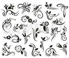 floral designs, vinyl-ready, ornaments, ornamental art, decorative vector images, vector cliparts, cuttable graphics