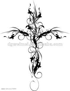 Flower_Cross_Sticker_Temporary_Tattoo_Designs.jpg 924×1,201 pixels