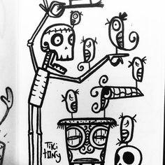 Tiki Tony's cute sketch-  #diadelosmuertos #halloween #halloweentattoo #tattoo #tikitattoo #tikitony #tikitonytattoo #tikibar #mixology #mixologist #tradersams #...