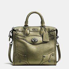 COACH Mini Rhyder 33 Satchel in Metallic Pebble Leather Handbags - Bloomingdale's Coach Purses Cheap, Coach Handbags Outlet, Satchel Purse, Leather Satchel, Pebbled Leather, Coach Satchel, Coach Wallet, Mini Handbags, Purses And Handbags