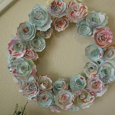 DIY::Paper Flower Wreath  This down with peonies and roses would be beautiful.