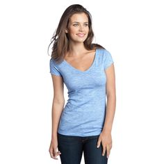 65b438eb8 District DT2001 Juniors Extreme Heather Cap Sleeve V-Neck Tee - Blue -  Softness and