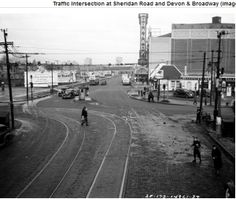 """Looking north on Sheridan in the 40's at Devon and seeing the old Granada """"Palace"""" on display"""