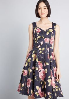855905240d43a Measured Magnificence Fit and Flare Dress in Navy Floral Navy   ModCloth