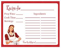 Retro Housewife Bridal Shower Original Retro Housewife Recipe Cards 6 different designs in red and blue Perfect for the bride to be who loves to cook! Grab a set of 24 for $20 on Etsy!