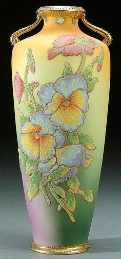 A NIPPON CORALENE DECORATED HANDLED VASE circa 1909 BEADED GLASS DECORATION OF PANSIES ON A SHAED AMBER-GREEN ND PURPLE SATIN GROUND