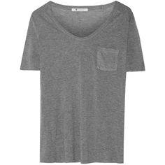 T by Alexander Wang - Classic Jersey T-shirt (€32) ❤ liked on Polyvore featuring tops, t-shirts, grey, grey tee, a line tops, slouchy tee, sporty t shirts and bralet tops