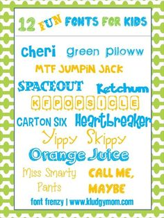 12 Fun Fonts for Kids | } ~~