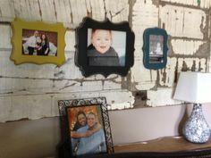 Old door with frames from our frame class #vintageframes #homedecor