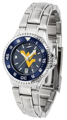New - Ladies West Virginia Mountaineers-Competitor Ladies' Steel AnoChrome - Color Bezel