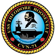 USS Theodore Roosevelt (CVN-71) Ship Crest - My love will be joining this ship in April, coming from the USS Enterprise!