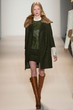 NYFW Rachel Zoe Fall 2013, hunter green, rich brown leather/fure