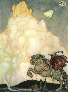 """Riding the Airy Highway - art print by Swedish artist John Bauer. See the book """"Great Swedish Fairy Tales."""""""