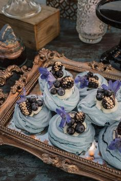 Blue Meringue Nests | Cosmic Inspired Destination Wedding Barcelona With Epic Dessert Table & Outdoor Woodland Ceremony With Pampas Grass Planning Paloma Cruz Images Pablo Laguia