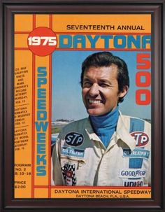 """NASCAR Framed 36"""" x 48"""" Daytona 500 Program Print Race Year: 17th Annual - 1975 by Mounted Memories. $363.99. NC14171975 Race Year: 17th Annual - 1975 Features: -Original cover art from that day's race program. -Vibrant colors restored, alive and well. -Classic brown finished wood frame, unmatted. -Officially licensed by NASCAR. -36"""" W; x 48"""" H; canvas print. -Overall dimensions 52 1/4 H"""" x 40"""" W. -Made in the USA."""