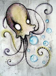 Octopus Pictures, Jellyfish Drawing, Octopus Tattoo Design, Sea Tattoo, Poetry Art, Doodle Inspiration, Sea Art, Happy Art, Kraken